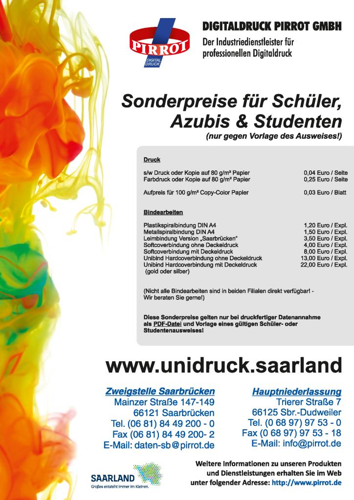 Schüler und Studentenpreisliste der Digitaldruck Pirrot GmbH